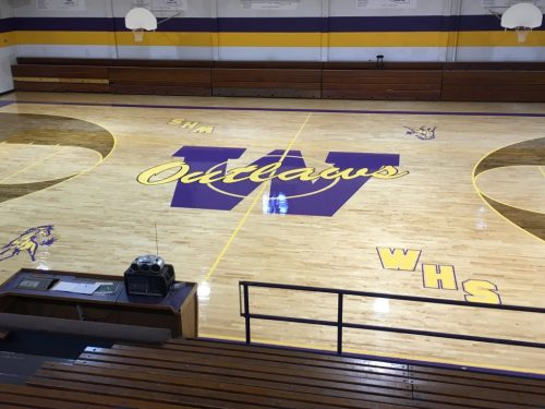 outlaws basketball court wood floor